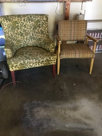two brown wooden framed gray padded armchairs Decatur, 35601