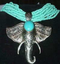 teal and silver beaded necklace Coker, 35452