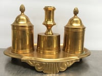9X6 inch vintage brass candle holder with match containers, pineapple lids Olathe, 66061