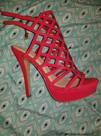 Red Open toe heels size 8 Baltimore