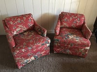 Two red-and-white floral sofa chairs Mountlake Terrace, 98043