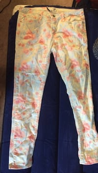 Yellow, red and teal floral denim jeans North Lauderdale, 33068