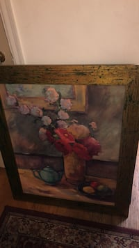 brown wooden framed painting of pink petaled flowers Hyattsville, 20782
