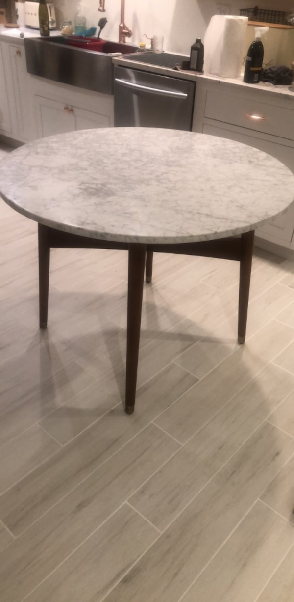 West elm Carrera marble dining table