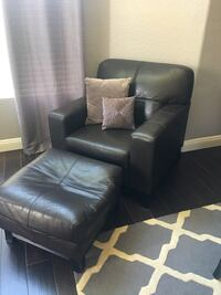 Black leather armchair with footstool Corona, 92879