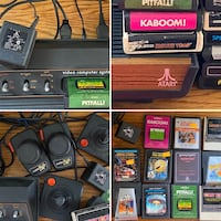 Vintage and working Atari 2600 with 11 game cartridges