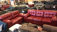 Red Bonded Leather Sofa & Loveseat By Ashley  Phoenix, 85018