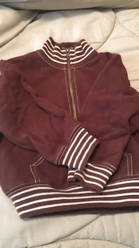 White and maroon zip-up jacket size 3T