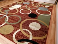 Red Circle Design Rug Bedroom Carpet  Bethesda