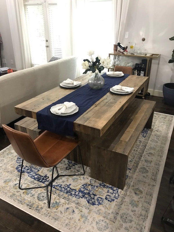 West Elm Wooden Dining Table, 2 Wooden Benches, and 2 Leather Chairs: From  West Elm Emmerson Reclaimed Pine and Slope Leather Dining Chair