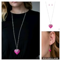 Southern heart pink necklace