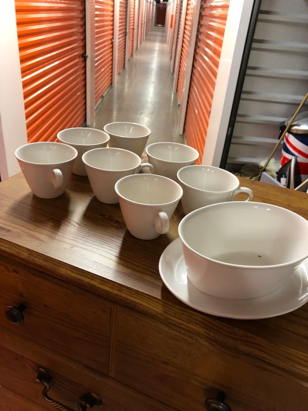 White ceramic bowl and plate set. Antiques, 75 years old