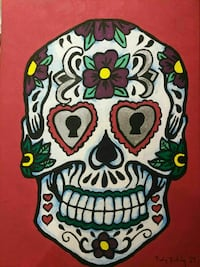 Acrylic sugar skull painting New Westminster, V3L 1G2