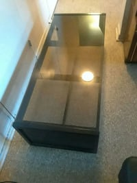 rectangular black wooden framed glass top coffee table Toronto, M1L