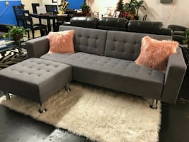 Gray Sofa Bed with Ottoman