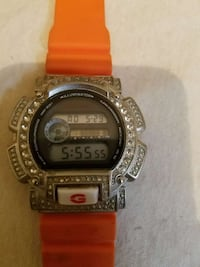 silver digital watch with orange rubber strap Washington, 20018