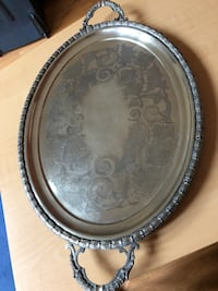 "VINTAGE ANTIQUE 20"" DECOR TRAY / PLATTER (SILVERPLATED) Richmond Hill"
