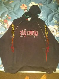 black and red The North Face pullover hoodie Detroit Lakes, 56501