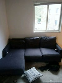 Black fabric couch  Manchester, 63021