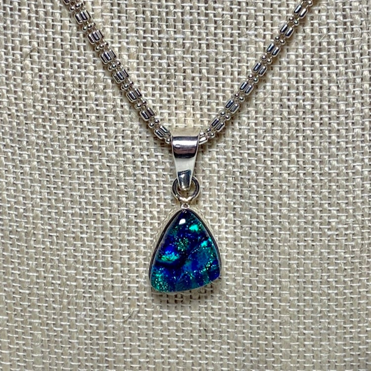 Vintage Sterling Silver Dichroic Glass Pendant with Sterling Chain f69c8c3e-5523-4186-801b-a78700c1fa1d