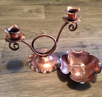 Vintage Mid Century Modern Gregorian Copper Double Candle Holder and Studio Art Bowl Glendale, 85304