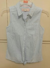 women's blue and white pinstriped button-up blouse Chilliwack, V2P