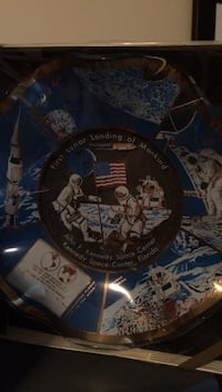 Vintage 1969 NASA commemorative glass candy dish, in original sealed box decorative plate 26 km