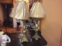 two brass based with cone shape lamp shades