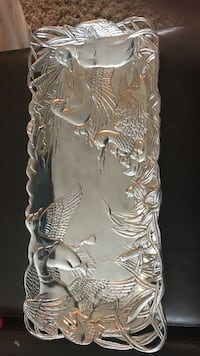 Silver bird printed tray