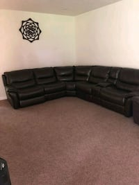 black leather sectional sofa with throw pillows Latrobe, 15650