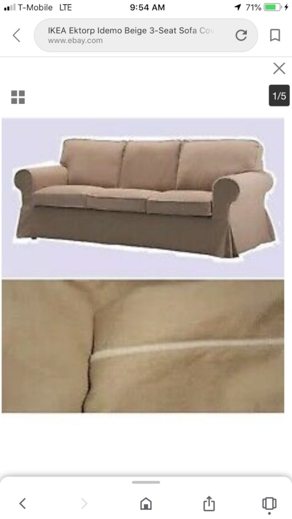 Fantastic Ikea Ektorp Idemo Beige 3 Seat Sofa Cover With Ivory Piping Theyellowbook Wood Chair Design Ideas Theyellowbookinfo