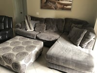 gray suede sectional couch with throw pillows Lakewood Ranch, 34202