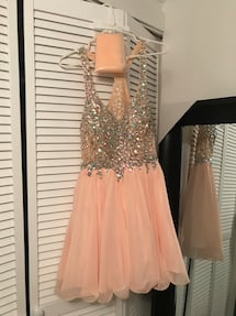 Dancing Queen brand Short Peach Formal Dress w/ Jewel Embellishments