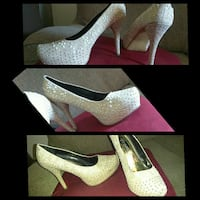 grey studded white platform stiletto pumps collage El Centro