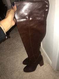 pair of brown leather knee-high boots New York, 11378