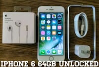 Silver Iphone 6 UNLOCKED 64GB w/ Accessories  Arlington