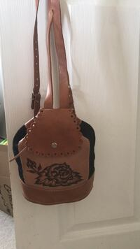 women's brown and black leather sling bag Barrie, L4M 7J8
