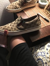 pair of brown Gucci low-top sneakers West Sacramento, 95605