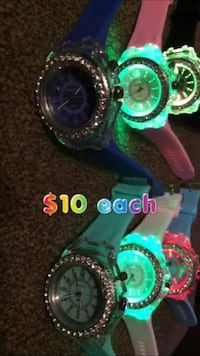 Watches $10 each light up different colors Cutler, 93615