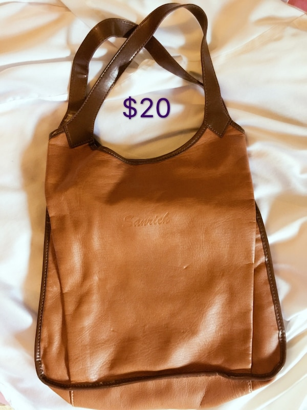 Used brown and beige Sanrich leather tote bag for sale in Richmond - letgo 4486d6581d27f