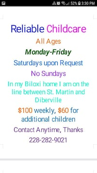 Offering Babysitting services D'Iberville