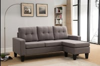 Tufted Back Linen Sectional Sofa with Reversible Chaise