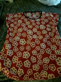 red and white floral sleeveless dress St. Catharines, L2M 4G1