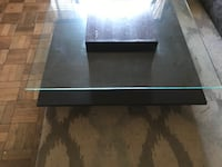 Two level Glass and Chocolate wood center living room table. Arlington, 22202