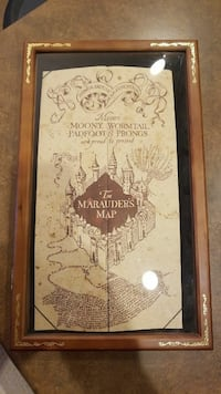 Used Harry Potter: The Marauder\'s Map poster with brown wooden frame ...