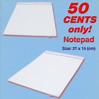 Notepad *Simple White Design No-Frills. 2019 YEAR CLEARANCE SALE, Lowest Prices at 50 cents each only!* Singapore