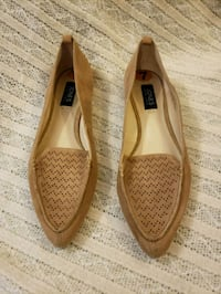 pair of brown leather flats Brampton