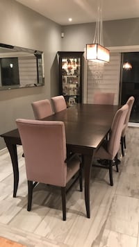Rectangular brown wooden table with six chairs dining set 798 km