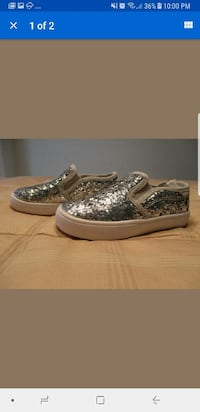 Girls Shimmer Flats in Silver