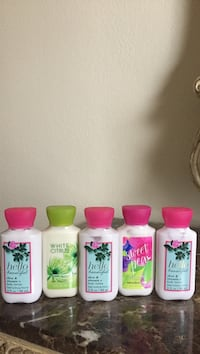 five Body lotion contianers Rockwall